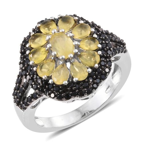 Natural Canary Opal (Ovl), Boi Ploi Black Spinel Floral Ring in Platinum Overlay Sterling Silver 2.5