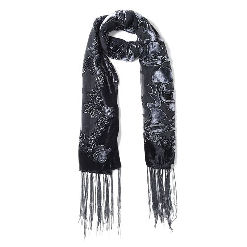 Black, Grey and Silver Colour Tulip Flower Pattern Scarf (Size 160x52 Cm)