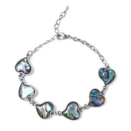 Abalone Shell Heart Bracelet (Size 6.5 with 2 inch Extender) in Silver Tone