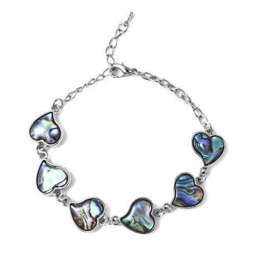 Abalone Shell Heart Bracelet in Silver Tone 6.5 with 2 inch Extender