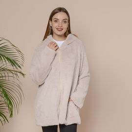 Supersoft Faux Fur Coat with Two Pockets and Zipper Closure  - Beige
