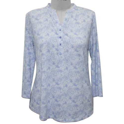SUGAR CRISP 3-Buttoned Blue and White Printed Top (Size XL)
