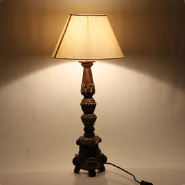 NAKKASHI - Hand Craved Wooden Table Lamp with Certified Cord Set (Size Shade: 23x30x21 Cm, Base: 14x