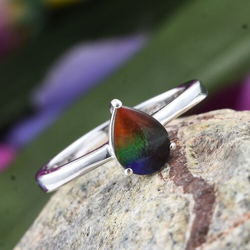 AA Canadian Ammolite (Pear 8x6mm) Solitaire Ring in Platinum Overlay Sterling Silver 1.000 Ct.