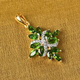 Russian Diopside and Natural Cambodian Zircon Pendant in 14K Yellow Gold Overlay Sterling Silver 2.2