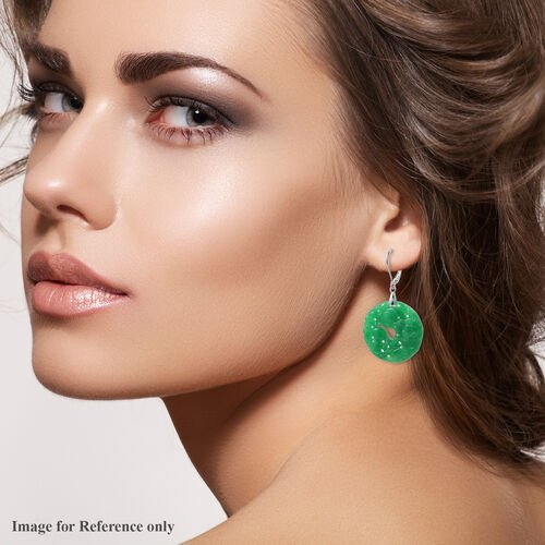 Carved Green Jade Floral Circular Earrings (with Lever Back) in Sterling Silver 51.00 Ct