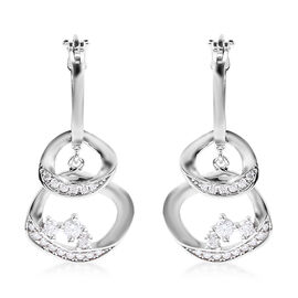 LucyQ Fluid Collection - Moissanite Detachable Earrings (with Clasp) in Rhodium Overlay Sterling Sil