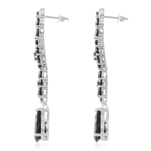 Boi Ploi Black Spinel (Pear and Ovl), White Sapphire Earrings (with Push Back) in Rhodium Overlay Sterling Silver 20.250 Ct. Silver wt. 9.79 Gms.