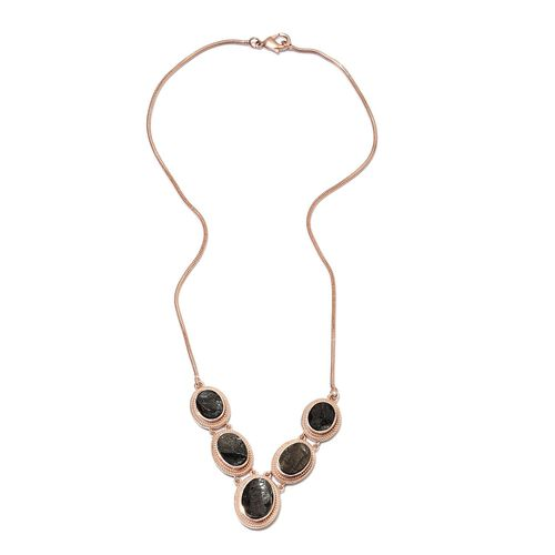 Elite Shungite (Ovl) Necklace (Size 18) Copper with Magnet 10.00 Ct.