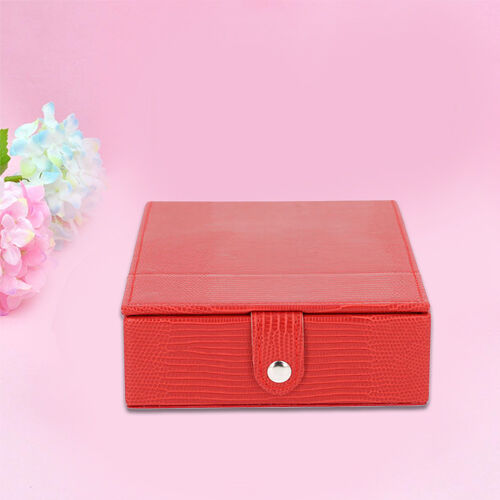 Grace Collection - Lizard Skin Pattern Rectangular Shaped  Anti-Tarnish Jewellery Box with Extendable Mirror, Ring Rows & 5 Sections (Size 21x15x5.5cm) - Red