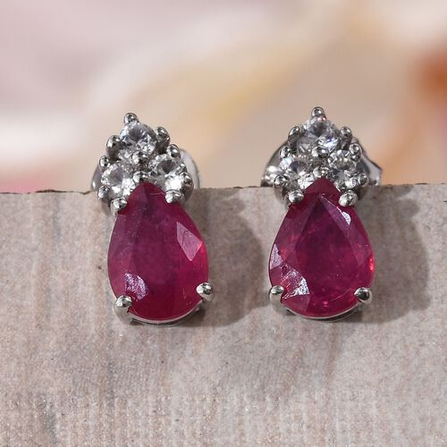 9K White Gold AA African Ruby (Pear), Natural Cambodian Zircon Earrings (with Push Back) 2.000 Ct.