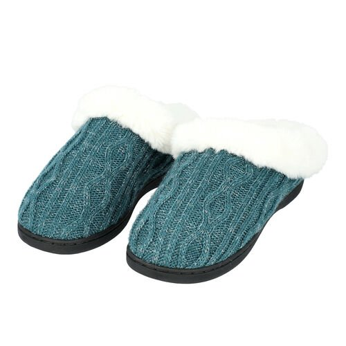 Knitted Slippers with Faux Fur (Size L: 7-8) - Green