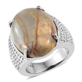 Venus Jasper (Ovl) Ring in Ion Plated Stainless Steel 16.000 Ct