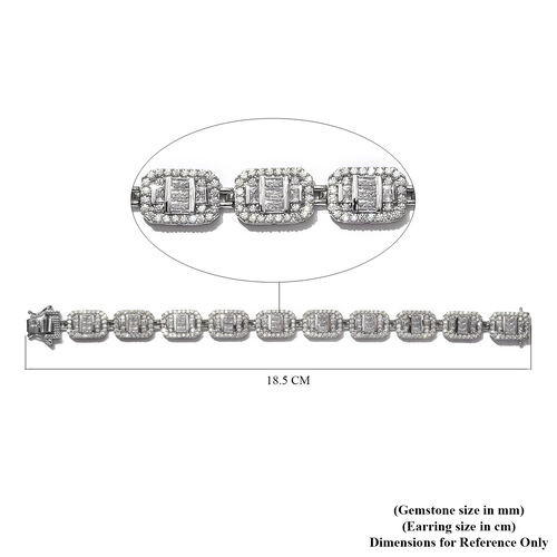 J Francis - Platinum Overlay Sterling Silver Bracelet (Size 7.5) Made with SWAROVSKI ZIRCONIA 16.43 Ct, Silver wt 23.84 Gms