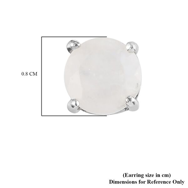 MP AA Rainbow Moonstone (Rnd 7 mm) Stud Earrings (with Push Back) in Platinum Overlay Sterling Silver 2.47 Ct.