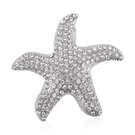 Starfish Design White Crystal Magnetic Brooch