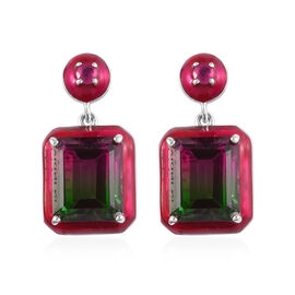 GP Bi-Colour Tourmaline Quartz (Oct), African Ruby and Blue Sapphire Enamelled Drop Earrings (with P