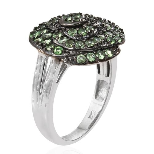 Exclusive Edition- Very Rare Tsavorite Garnet (Rnd) Flower Ring in Black Rhodium and Platinum Overlay Sterling Silver 1.500 Ct. Silver Wt. 5.20 Gms