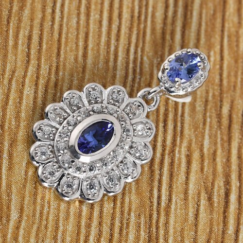 Tanzanite and Natural Cambodian Zircon Pendant in Platinum Overlay Sterling Silver 1.00 Ct.