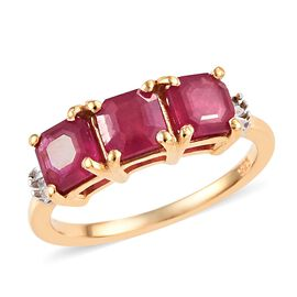 Niassa Ruby and Diamond Ring in 14K Gold Overlay Sterling Silver 2.50 Ct.