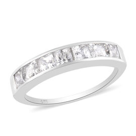 J Francis Platinum Overlay Sterling Silver Half Eternity Band Ring Made with SWAROVSKI ZIRCONIA 2.00