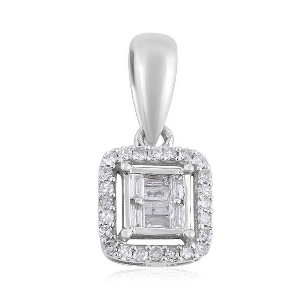 0.20 Ct Diamond Halo Pendant in 9K White Gold SGL Certified I3 GH