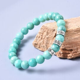 Personalise Engravable Amazonite Beads Stretchable Bracelet, Stainless Steel