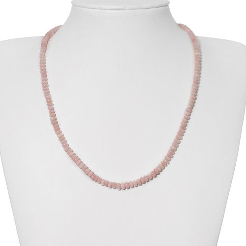Peruvian Pink Opal (Rnd) Necklace (Size 18) in Platinum Overlay Sterling Silver 58.610 Ct.