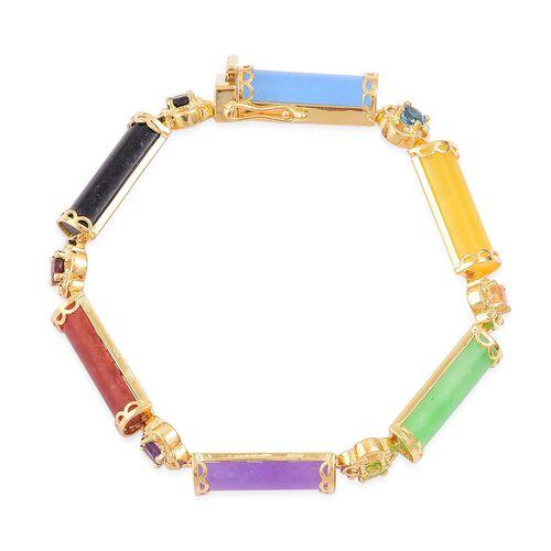 Green Jade (Bgt), Purple Jade, Yellow Jade, Blue Jade, Red Jade, Black Jade and Multi Gemstone Bracelet (Size 7.5) in Yellow Gold Overlay Sterling Silver 43.890 Ct. Silver wt. 12.50 Gms.