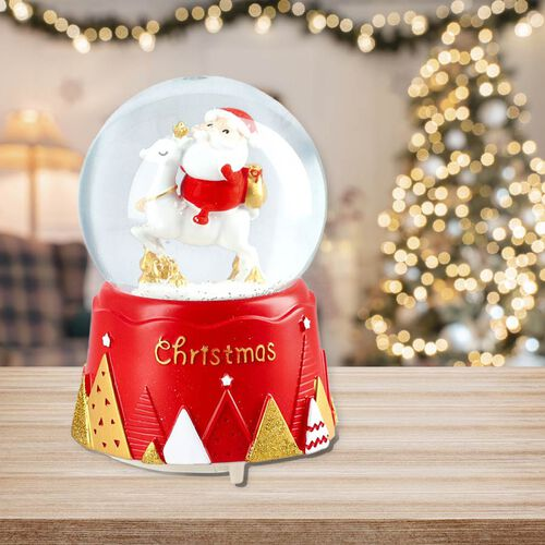 Home Decor - Musical Crystal Globe with Santa and Deer (Size 15x10Cm) - Red