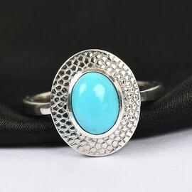 Arizona Sleeping Beauty Turquoise Solitaire Ring in Platinum Overlay Sterling Silver 1.050 Ct.