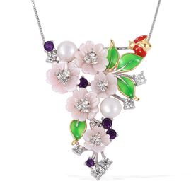 JARDIN COLLECTION - Fresh Water White Pearl, Pink Mother of Pearl, Amethyst and Multi Colour Gemstone Floral Enameled Pendant with Chain in Rhodium and Gold Overlay Sterling Silver 8.00 Gms