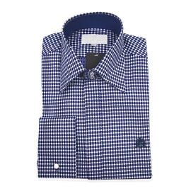William Hunt Saville Row Forward Point Collar Blue and White Shirt