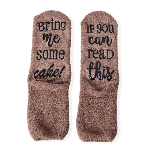 Set of 2 - Chocolate and Tea Quote Socks with Cupcake Gift Packaging (Size 8x33 Cm) - Cream and Brown