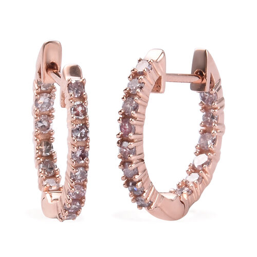 9K Rose Gold SGL Certified Natural Pink Diamond (I3/G-H) Hoop Earrings (with Clasp) 0.50 Ct.