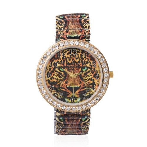 Set of 2 STRADA Japanese Movement White Austrian Crystal Studded Leopard Pattern Watch with Coffee Colour Pen