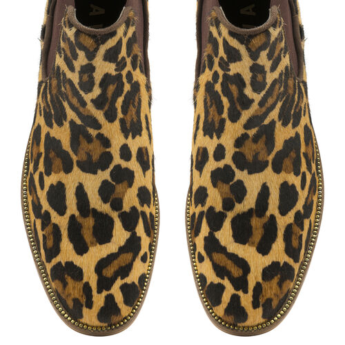 Ravel Leopard-Print Gisborne Leather Slip-On Ankle Boots