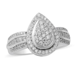 Moissanite Ring in Rhodium Overlay Sterling Silver , Silver Wt. 5.20 Gms