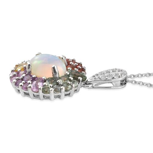 Ethiopian Welo Opal (Ovl 1.60 Ct), Rainbow Sapphire and Natural Cambodian Zircon Pendant with Chain in Platinum Overlay Sterling Silver 5.000 Ct.