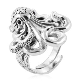 Royal Bali Collection- Boi Ploi Black Spinel (Rnd) Octopus Ring in Sterling Silver, Silver wt 17.00 Gms