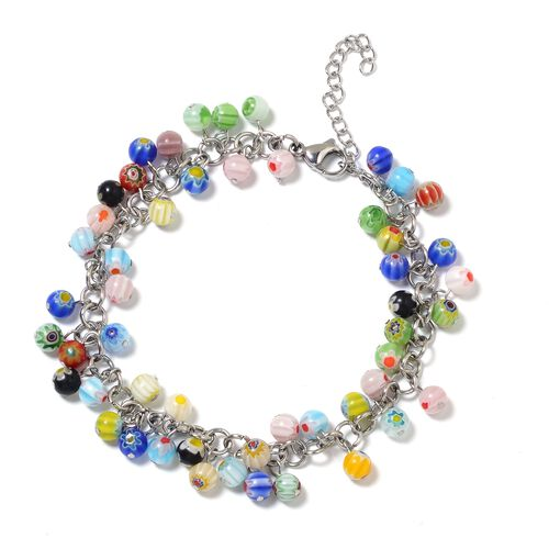 Multi Colour Murano Style Glass (Rnd) Beads Anklet (with Lobster Lock) in Stainless Steel.