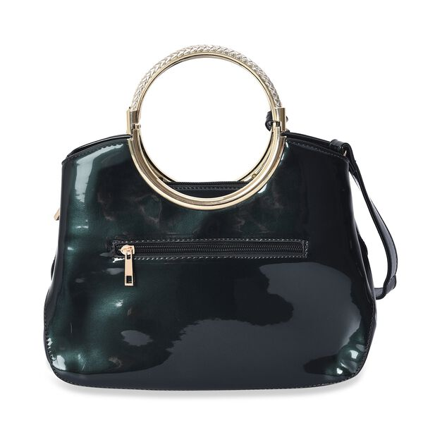 Glittering Rose Pattern Tote Bag with Round Metal Handle and Detachable Shoulder Strap (Size 32x23x8 Cm) - Metallic Dark Green