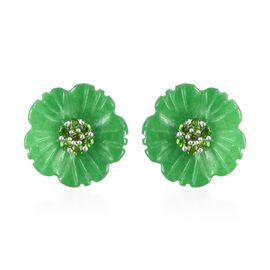 Carved Green Jade and Green Sapphire Floral Earrings (with Push Back) in Rhodium Overlay Sterling Si