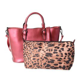 2 Piece Set - 100% Genuine Leather Metallic Red Tote Bag (Size 36x30x23.5x12.5 Cm) and Leopard Patte
