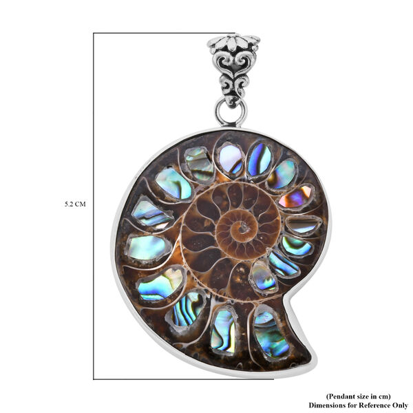 Royal Bali Collection - Ammonite and Abalone Shell Pendant in Sterling Silver