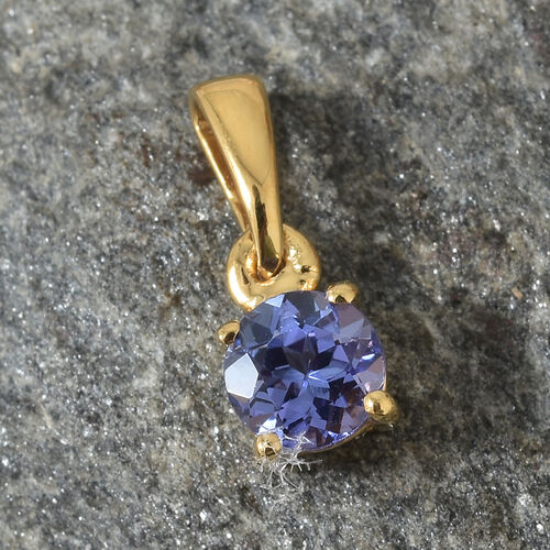 Tanzanite (Rnd) Solitaire Pendant in 14K Gold Overlay Sterling Silver 0.500 Ct.
