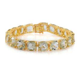 Green Amethyst (Cush) Bracelet (Size 7) in 14K Gold Overlay Sterling Silver 62.000 Ct. Silver wt 17.20 Gms.