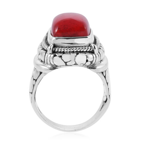 Royal Bali Collection Sponge Coral (Sqr) Crocodile Skin Texture Ring in Sterling Silver, Silver wt 9.50 Gms.