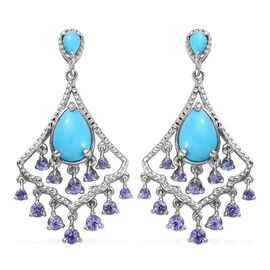 Arizona Sleeping Beauty Turquoise (Pear), Tanzanite Chandelier Earrings (with Push Back) in Platinum