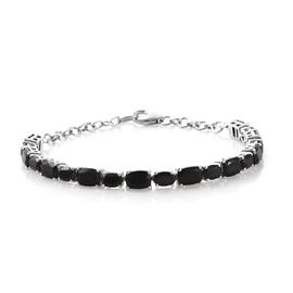 Black Tourmaline (Cush 8.35 Ct), Boi Ploi Black Spinel Bracelet (Size 8) in Platinum Overlay Sterling Silver 13.500 Ct, Silver wt 7.69 Gms.